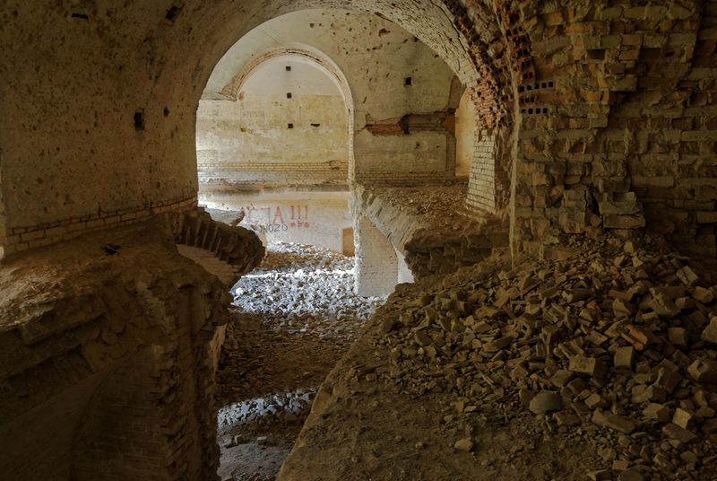 Remembrance of the past Ceiling Debris Historical Building No Entry Ruins Vaults Architecture Bricks Built Structure Columns Degradation Devastated Fort History Indoors  Military Base No People Residue Rubble Stronghold Time Travel Destinations Vault Vaulted Ceilings World War 1