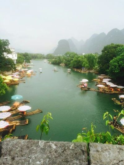 three years ago in Guilin Tree Water Lake Forest Nautical Vessel Fog Sky Landscape Plant