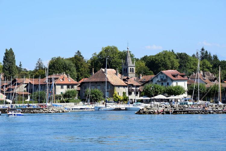 Blue Boat Clear Sky Day Lake Geneva Nautical Vessel Switzerland TOWNSCAPE Village Water Waterfront
