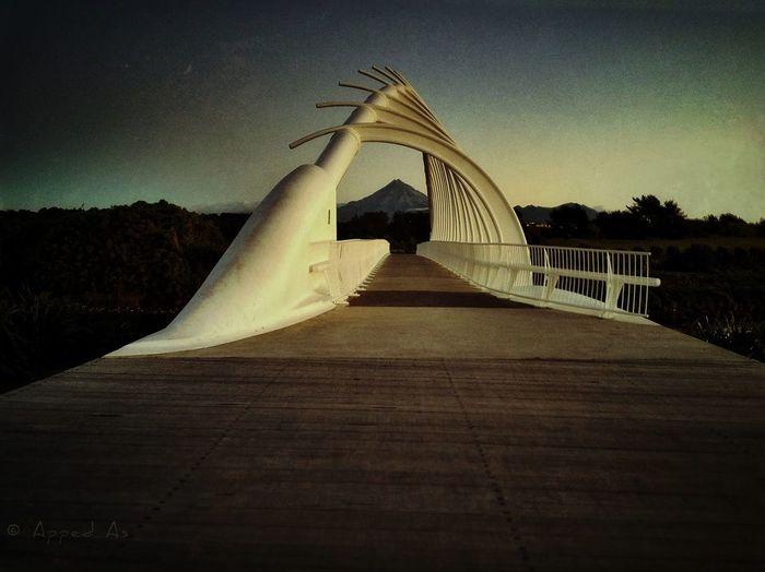 Te Rewa Rewa bridge at dusk, New Plymouth, Taranaki, New Zealand NEM Landscapes Landscape Bridge New Zealand