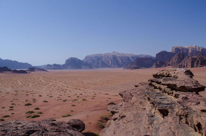 Scenic view of wadi rum against clear sky