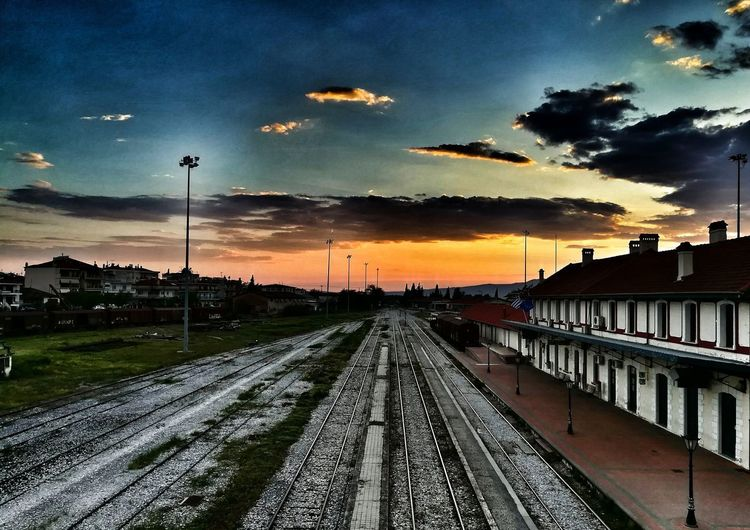 Railway Station Δραμα Railways_of_our_world Railway Station Platform Outdoors No People Sunset