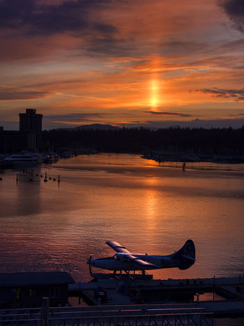 Sea Plane Airplane Architecture Beauty In Nature Building Exterior Built Structure City Cloud - Sky Day Illuminated Nature No People Outdoors Sky Sunset Transportation Travel Travel Destinations Water