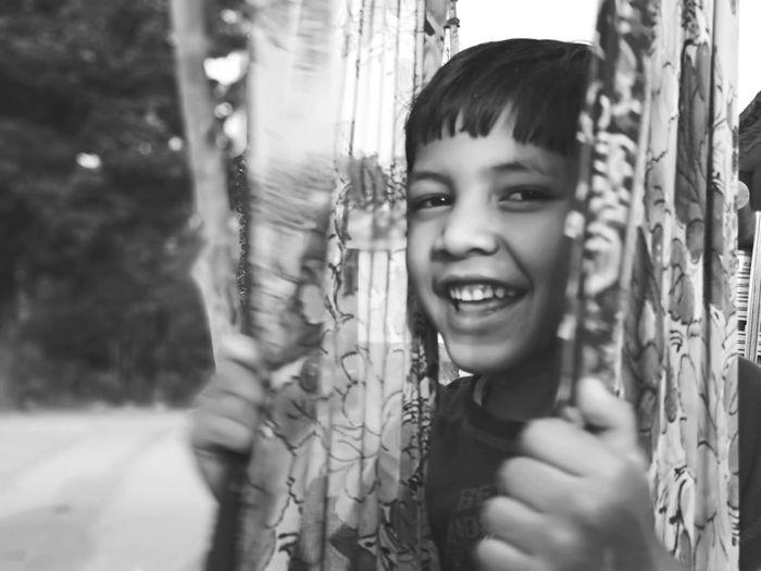 Rural Scene Blackandwhite Village India Child Portrait Smiling Childhood Cheerful Happiness Tree Headshot Girls Fun