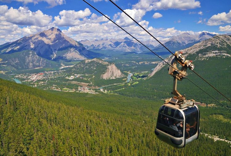 High angle view of overhead cable car on mountains