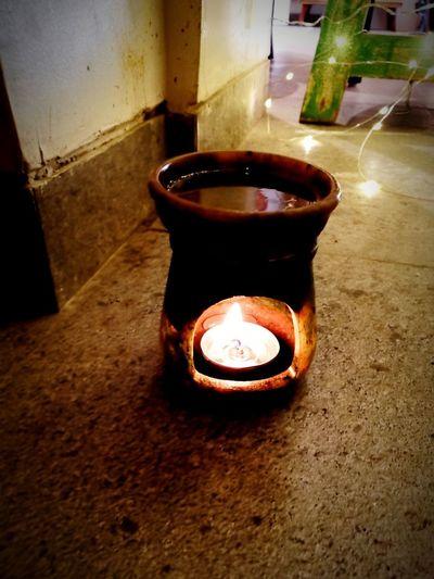 Incense Diya - Oil Lamp Heat - Temperature Water Flame Close-up
