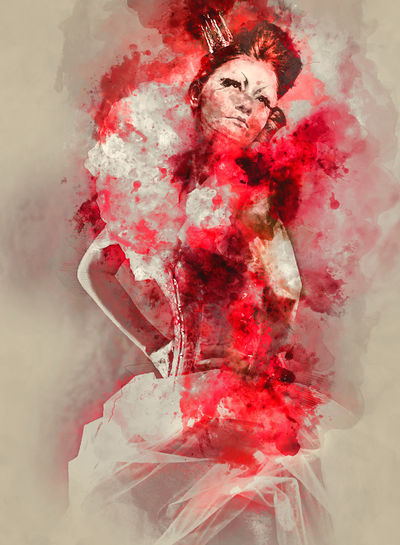 Digital watercolor painting of a Red Queen Digital Drawing Fairy Tale Lady Watercolour Woman Alice In Wonderland Character Digital Art Digital Illustration Digital Painting Digitally Altered Digitally Generated Digitally Generated Image Duchess Gothic Style Illustration One Person Painting Queen Of Hearts Red Red Queen Watercolor Watercolor Painting Watercolour Painting Young Adult