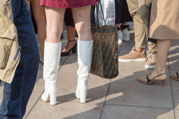 This boots are made for walking Fashion Influencers Fashion Accessories Sunny Day September Milano Fashion Week Fashion Week Milano Before The Fashion Show Waiting For The Fashion Show Waiting Bag Fendi Bag White Boots Low Section Sunlight Women Shoe Adult Medium Group Of People Lifestyles Clothing Day People