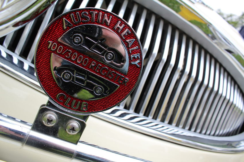 Austin Healey Beige Car Close-up Color Colour Day Engine Frame Grill Land Vehicle Metal Mode Of Transport Motor Motoring My Photography Old-fashioned Photo Of The Day Photography Red Reflection Retro Styled Structure Text Transportation EyeEm Selects