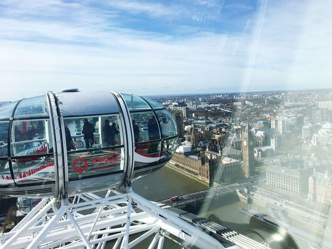 London Eye Hello World Top View Blue Sky