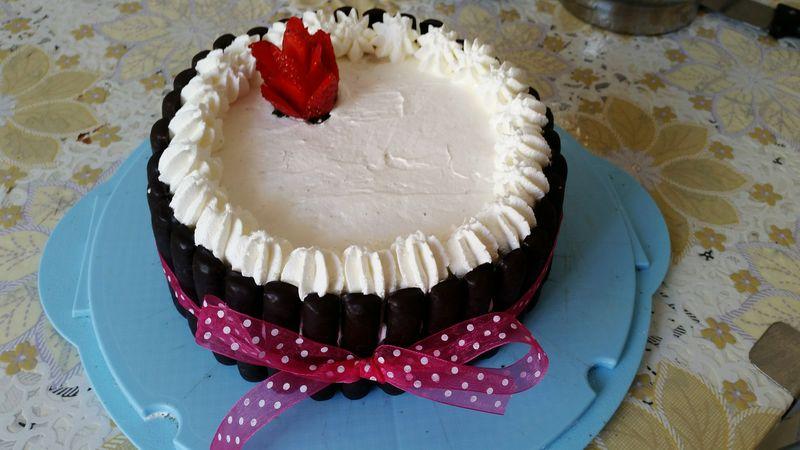 Torta Fragola🍓🍓🍓🍓 Rosa Fiocco Panna Cioccolato Fatta Da Me