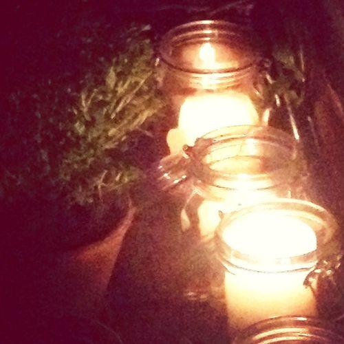 Candle light and basil.. beautiful....