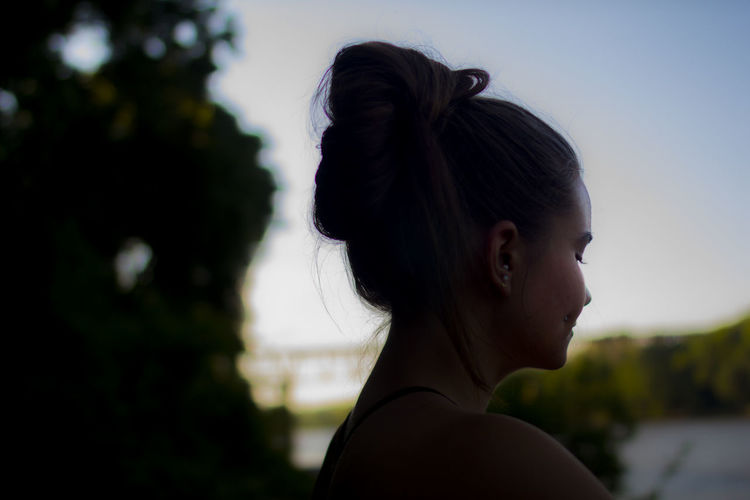 Beach Beautiful Woman Bun Close-up Day Focus On Foreground Hair Headshot Lifestyles One Person Outdoors People Profile Real People Sexygirl Sexywomen Side View Summer Sunset Tree Young Adult Young Women