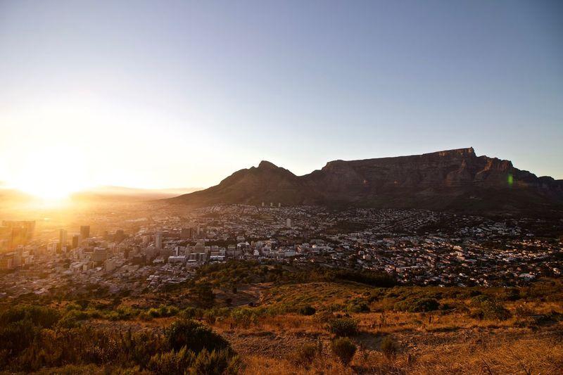 Sunrise South Africa Cape Town Table Mountain Sky Mountain Landscape Nature Building Exterior Environment Scenics - Nature