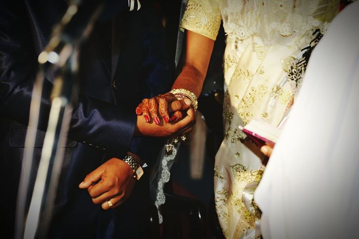 Two Is Better Than One Atthewedding Bride And Groom Holding Hands Anewbeginning Of Newlife💛 Church Wedding Day OpenEdit India Saree