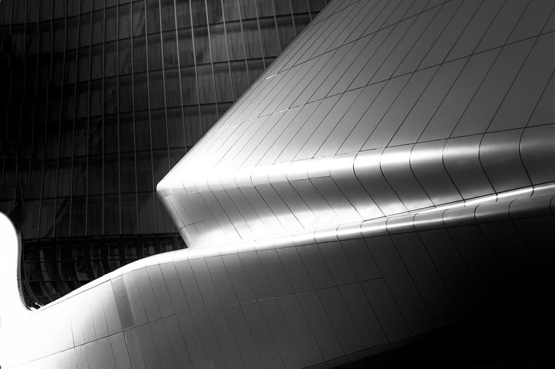 Aluminum Architectural Feature Architecture Building Exterior Built Structure City Close-up Day Futuristic Low Angle View Modern No People Outdoors An Eye For Travel