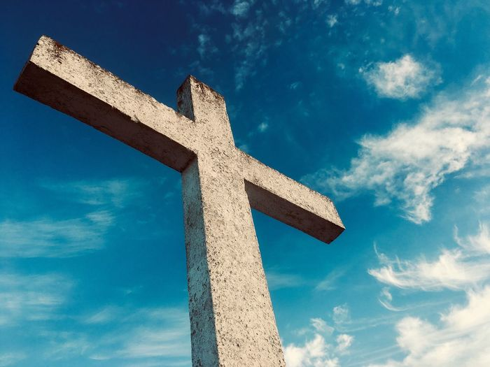 Old Cross and Cloud sky Cross Shaped Cloud - Sky Sky Cross Low Angle View Religion Belief Spirituality Blue Symbol Place Of Worship Religious Equipment