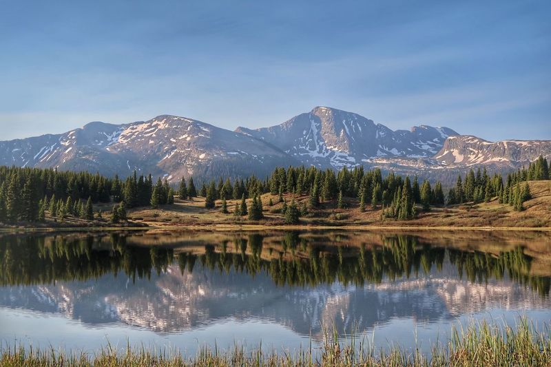 High angle landscape of mountains reflected in a lake in Colorado Little Molas Lake San Juan Mountains High Elevation Colorado Mountians Colorado Mountain Beauty In Nature Tree Water Scenics - Nature Plant Sky Snowcapped Mountain Coniferous Tree No People Cold Temperature Non-urban Scene Nature Mountain Range Lake Tranquility Reflection Tranquil Scene Snow