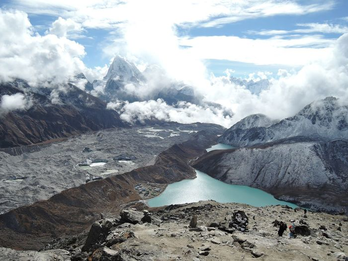 Near 5300m, Gokyo RI. Gokyo Lake Lost In The Landscape Nepal Panorama Clouds And Sky Lake View Landscape Mountain Small Town