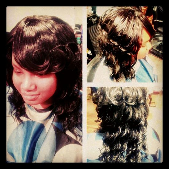FULL SEW-IN WITH WAVY HAIR WITH A BANG