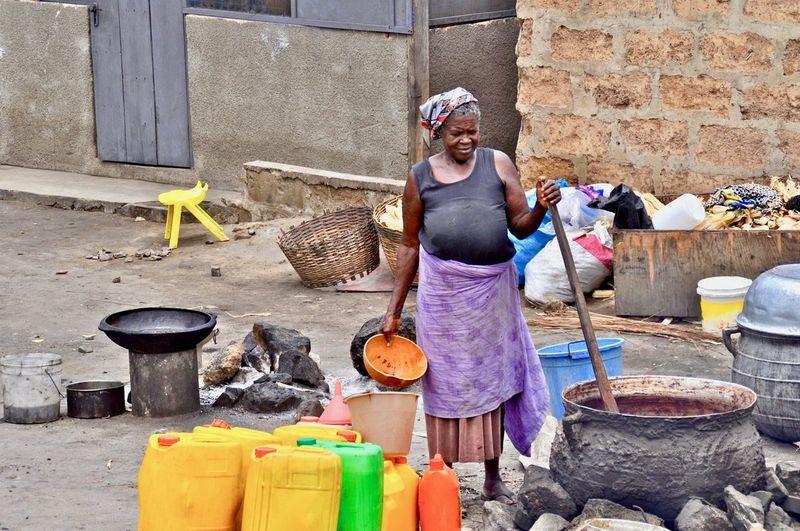 Senior woman preparing food