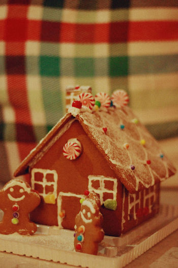 Gingerbread House, 2018 Holiday Moments Celebration Sweet Food Christmas Holiday Food And Drink Indoors  Food Baked Still Life No People Close-up Sweet Indulgence Cookie Decoration Table Gingerbread Cookie Text Art And Craft Temptation Gingerbread House Gingerbread Christmas Xmas