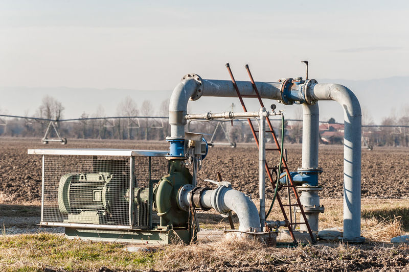 Electric motor pump on agriculture field