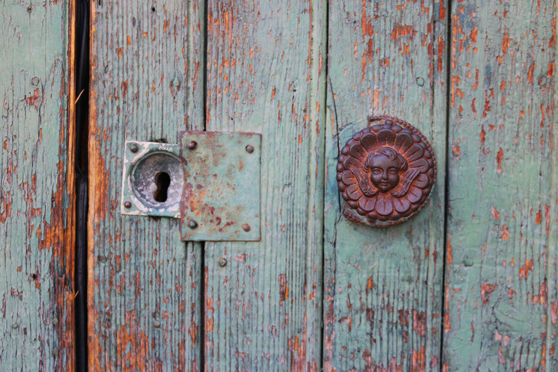 Close-up Closed Day Door Entrance Full Frame Handle Lock Metal Nail No People Old Rusty Safety Security Textured  Wood - Material
