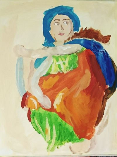 Painted Image Fine Art Painting Female Likeness Artist People My Impression Michaelangelo Woman Green Orange Blue Representing (c) 2016 Shangita Bose All Rights Reserved Basje Kat Colorful Shadows & Lights My First Painting From My Point Of View Art Amsterdam Netherlands Snbcrea