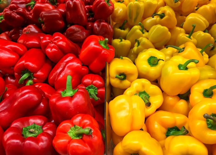 Full frame shot of bell peppers for sale at market stall