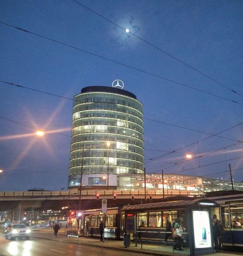 Night Built Structure Architecture Building Exterior Sky Illuminated Outdoors No People Astronomy MerdedesG Mercedes-Benz Mercedes Showroom Munich
