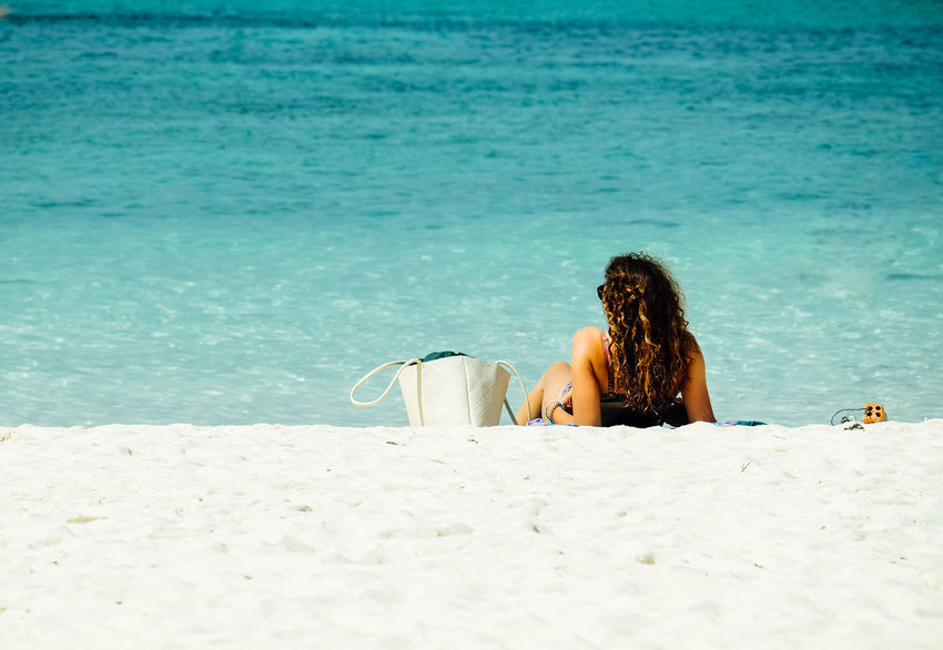 woman is sunbathing on the beach,Relaxation concept, Travel in Thailand , Andaman sea,Summer beach concept Tourism Happy Thailand Beach Beauty In Nature Day Outdoors People Relaxation Relaxation Exercise Sand Sea Summer Sunbathe Sunbathing Women