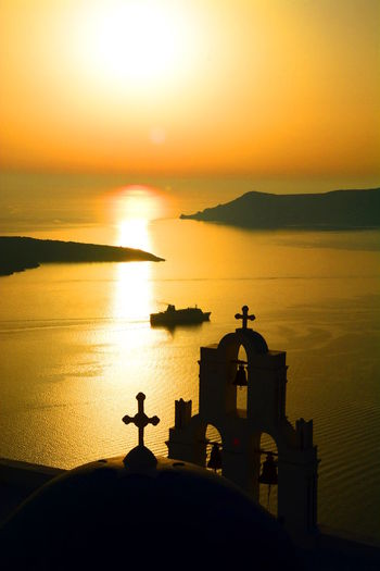 Agios Theodori. Firostefani, Santorini Aegean Sea Agios Theodori Belltower Caldera Catholic Church Cyclades Dome Europe Firostefani Greece Greek Imerovigli Santorini Santorini Island Santorini, Greece Sea Sunset Sunset Silhouettes Sunset_collection 43 Golden Moments Tourism Greece Travel Travel Photography The Great Outdoors - 2016 EyeEm Awards