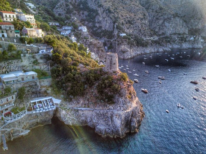 Amalfi Coast, Italy High Angle View Architecture Built Structure No People Water Outdoors Nature Day Mountain Tree Building Exterior Beauty In Nature