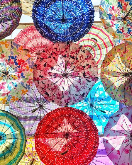 Colorburst Photography Multi Colored Red Flower No People Indoors  Day Jaysalvarez Interior Design Interior Art Umbrellas