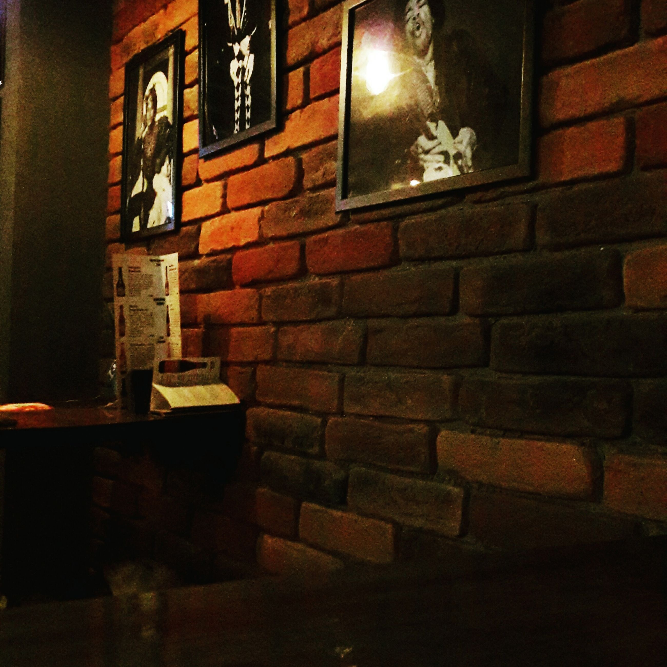 illuminated, brick wall, night, indoors, architecture, no people