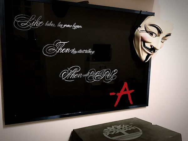 🅰️ EyeEmNewHere Female Likeness Text Close-up Indoors  No People Art ArtWork PrettyLittleLiars PLL  Amessage Lovepll Love Selfmade Anonymous Anonymous Mask Frame Blackbackground Black Red EyeEmNewHere