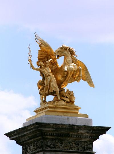 Cloud - Sky Day Golden Statue Human Representation Low Angle View Monument No People Paris Pegasus Sky Statue