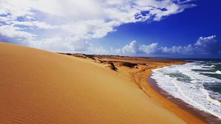 All alone in Punta Gallinas Colombia. Puntagallinas Desertbeach Ocean Emptybeach Beach Empty Sand Bluesky Clouds Travel Backpacking Solotravel Colombia
