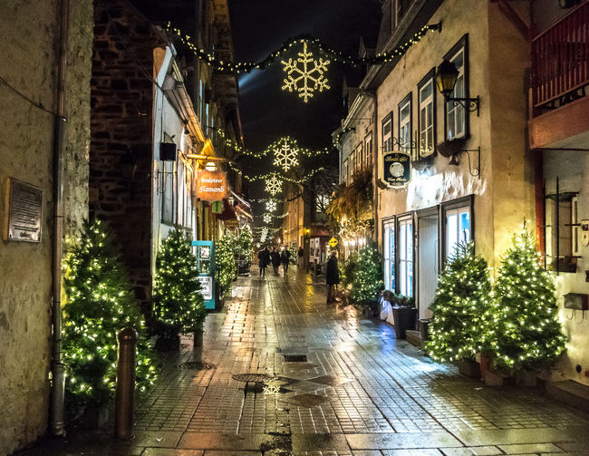 Christmas Christmas Trees Cobblestone Streets Lights Old Quebec City Path Shopping Strolling Tourist Attraction  Architecture Building Exterior Built Structure Decoration Destination Evening Hanging History Illuminated Night Ornaments Outdoors Retail  Season  Windows HUAWEI Photo Award: After Dark