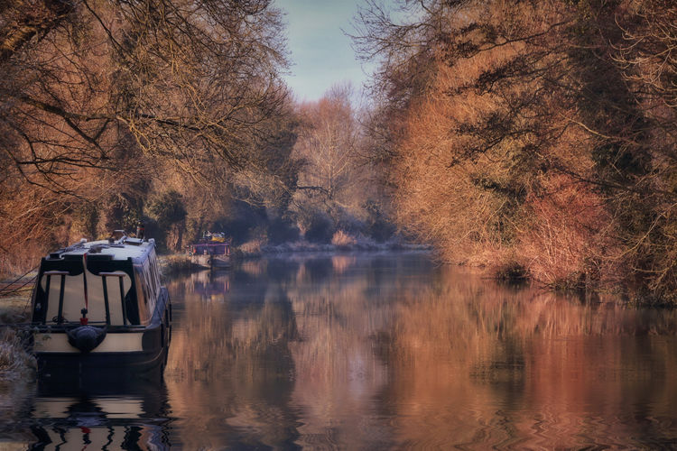 Autumn on the Kennet and Avon canal Water Mode Of Transportation Tree Transportation Reflection Nature Plant Lake Autumn Waterfront Beauty In Nature Day Land Vehicle Motion Outdoors Scenics - Nature Travel No People Public Transportation Change