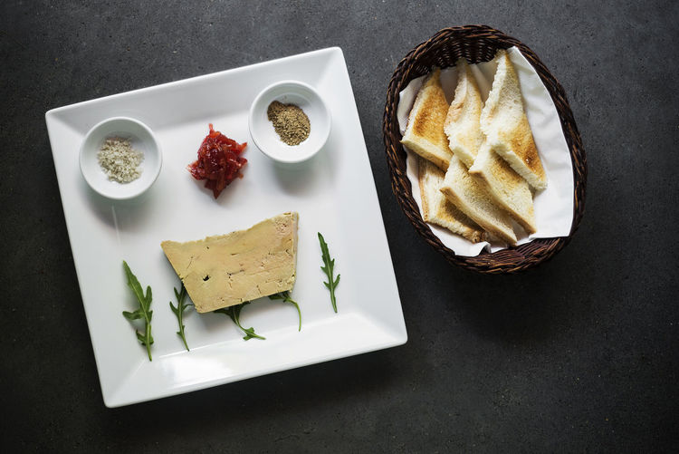 Foie gras pate french starter food Foie Gras Set Snack Tapas Bread Close-up Duck Liver Food Food And Drink French French Food Freshness Gourmet Food Healthy Eating High Angle View Indoors  Liver Pate No People Pate Plate Ready-to-eat Starter Table