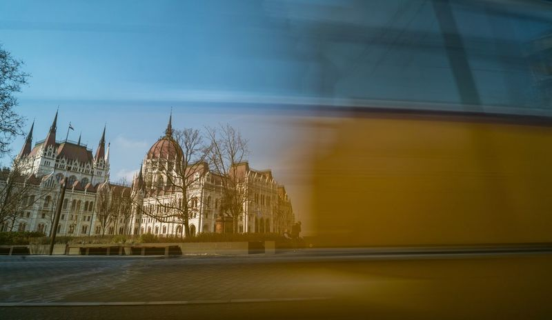 Timing Public Transportation Slow Shutter Long Exposure Magyarország Mik Tram 2 Hungary Budapest Parliament Building Parliament Architecture Built Structure History Travel Destinations Outdoors Building Exterior City Politics And Government