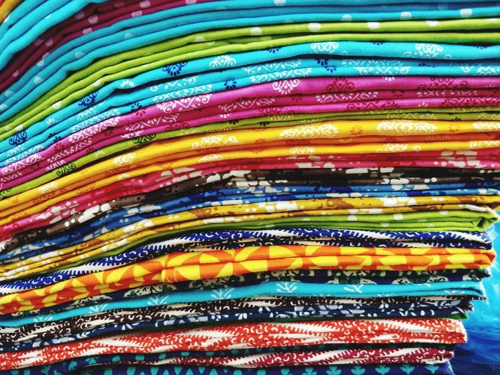 Full frame shot of colorful fabrics for sale in store