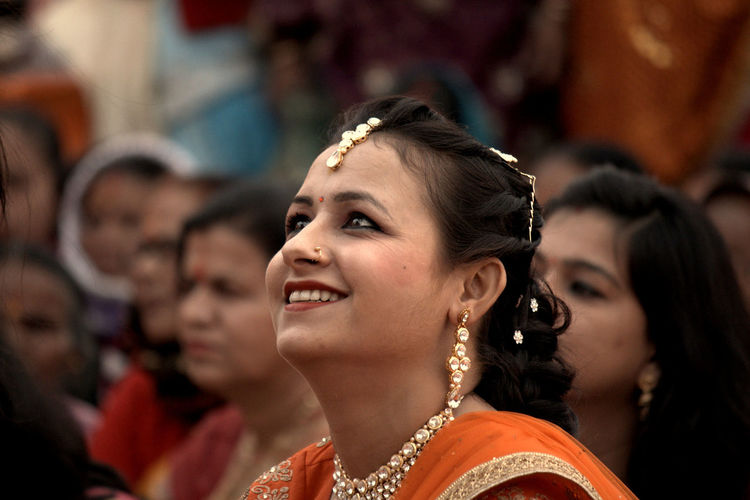 Smiling woman in traditional clothing