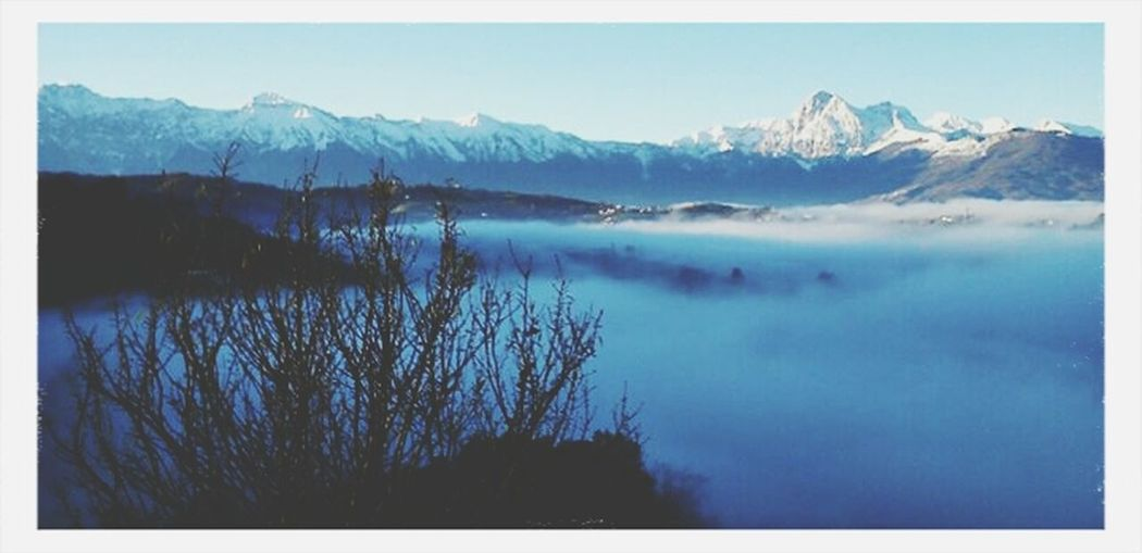 In the Fog. Amazing View Landscape Italy