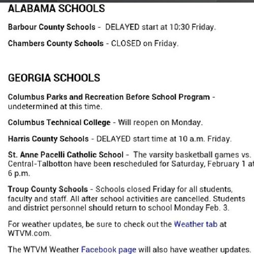 DANG YOU HARRIS COUNTY!!! They always getting outta school over the littlest things. School Tomorrow WTVM News OhWell KindOf a SadFace MuscogeeBeTrippinSometimes Colga