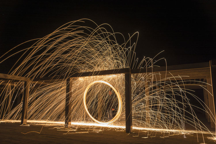 Lightpainting Night Motion Blurred Motion Long Exposure Wire Wool Illuminated Glowing Spinning Speed Light Trail Sparks Nature Geometric Shape Light Painting Circle Shape Burning Pattern Fire Orange Color Outdoors
