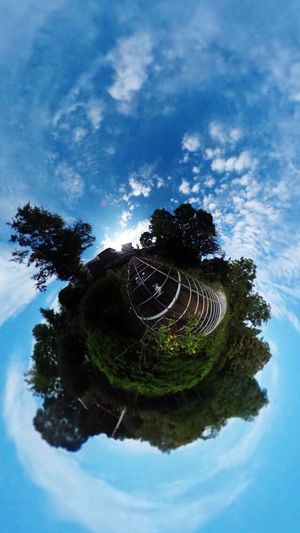 Theta360 Blue Sky Clouds And Sky Trees Blue Clouds Chiba Green Leaves Earth Ball