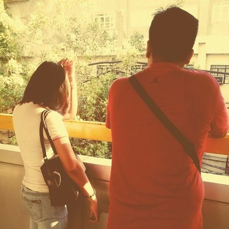 Lovers while waiting for the next train. Sweetcouple Manila Asian  Itsmorefuninthephilippines LRT Pedrogil